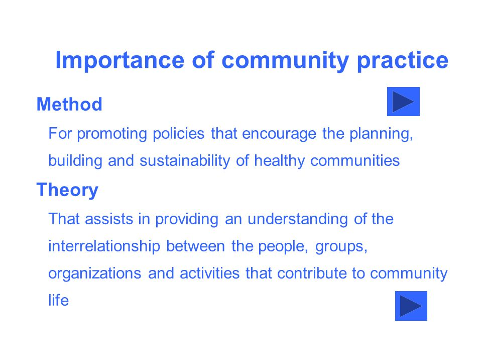 Importance of community practice Method For promoting policies that encourage the planning, building and sustainability of healthy communities Theory That assists in providing an understanding of the interrelationship between the people, groups, organizations and activities that contribute to community life