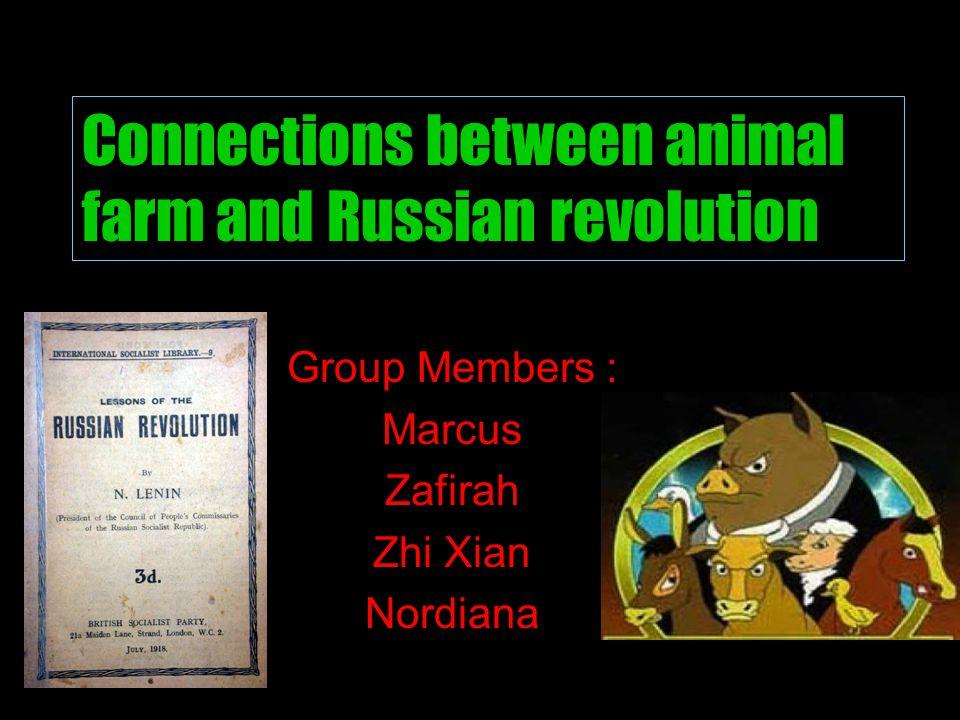 Group Members : Marcus Zafirah Zhi Xian Nordiana Connections between animal farm and Russian revolution