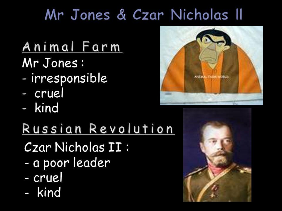 Mr Jones : - irresponsible - cruel - kind Czar Nicholas II : - a poor leader - cruel - kind
