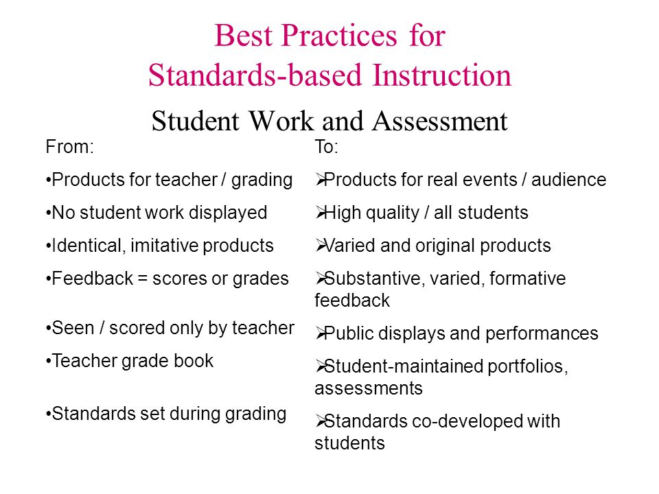 Best Practices for Standards-based Instruction Language and Communication From: Forced constant silence Short responses Teacher talk Focus on facts To