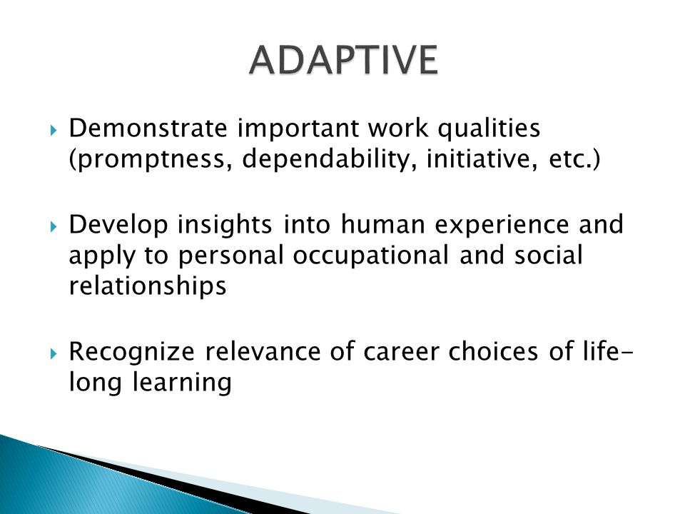 Demonstrate important work qualities (promptness, dependability, initiative, etc.) Develop insights into human experience and apply to personal occupa