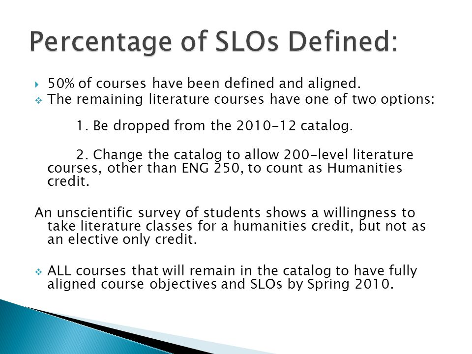 50% of courses have been defined and aligned. The remaining literature courses have one of two options: 1. Be dropped from the 2010-12 catalog. 2. Cha