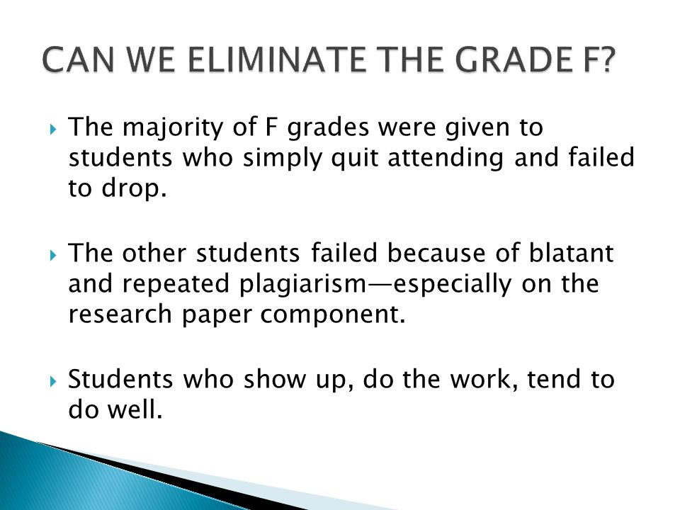 The majority of F grades were given to students who simply quit attending and failed to drop.