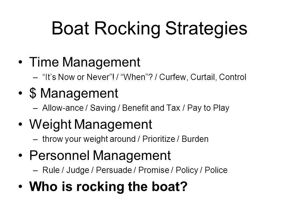 Boat Rocking Strategies Time Management –Its Now or Never.