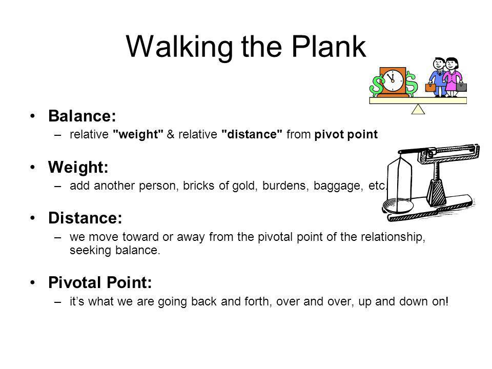 Walking the Plank Balance: –r–relative weight & relative distance from pivot point Weight: –a–add another person, bricks of gold, burdens, baggage, etc.