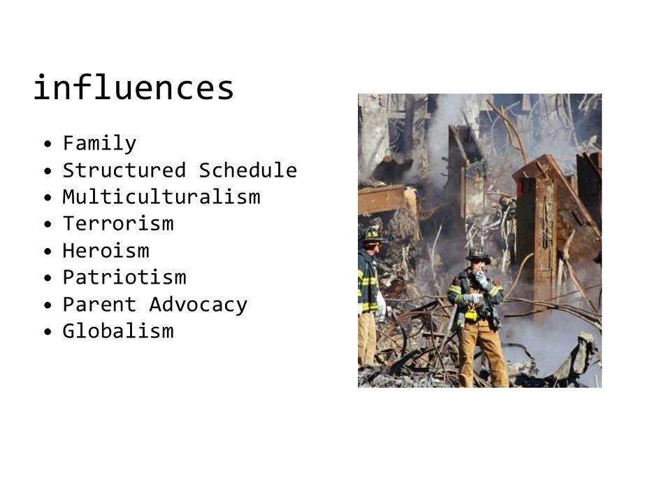 influences Family Structured Schedule Multiculturalism Terrorism Heroism Patriotism Parent Advocacy Globalism