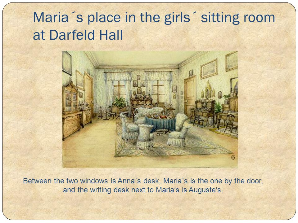 Maria´s place in the girls´ sitting room at Darfeld Hall Between the two windows is Anna´s desk, Maria´s is the one by the door, and the writing desk