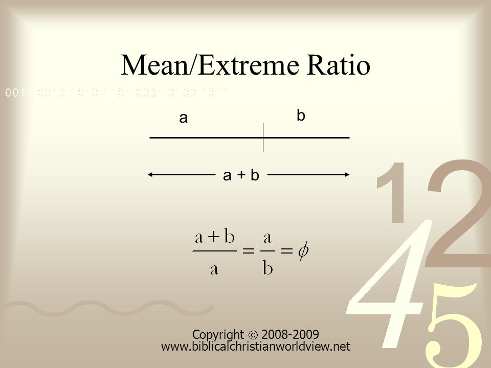 Mean/Extreme Ratio a b a + b Copyright 2008-2009 www.biblicalchristianworldview.net