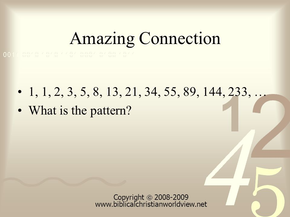 Amazing Connection 1, 1, 2, 3, 5, 8, 13, 21, 34, 55, 89, 144, 233, … What is the pattern.