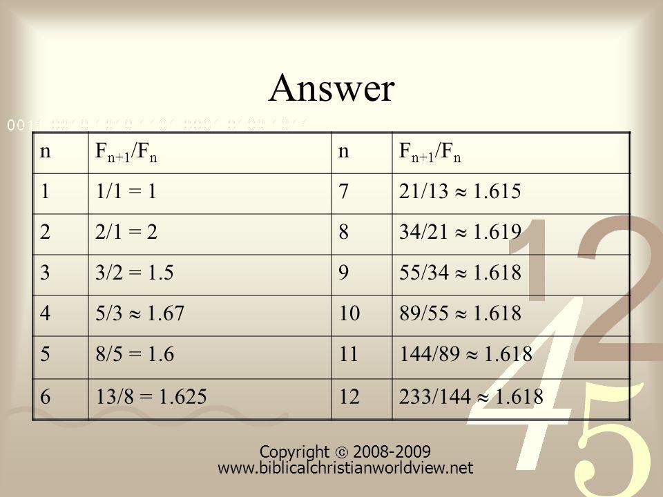 Answer nF n+1 /F n n 11/1 = 17 21/13 1.615 22/1 = 28 34/21 1.619 33/2 = 1.59 55/34 1.618 4 5/3 1.67 10 89/55 1.618 58/5 = 1.611 144/89 1.618 613/8 = 1.62512 233/144 1.618 Copyright 2008-2009 www.biblicalchristianworldview.net