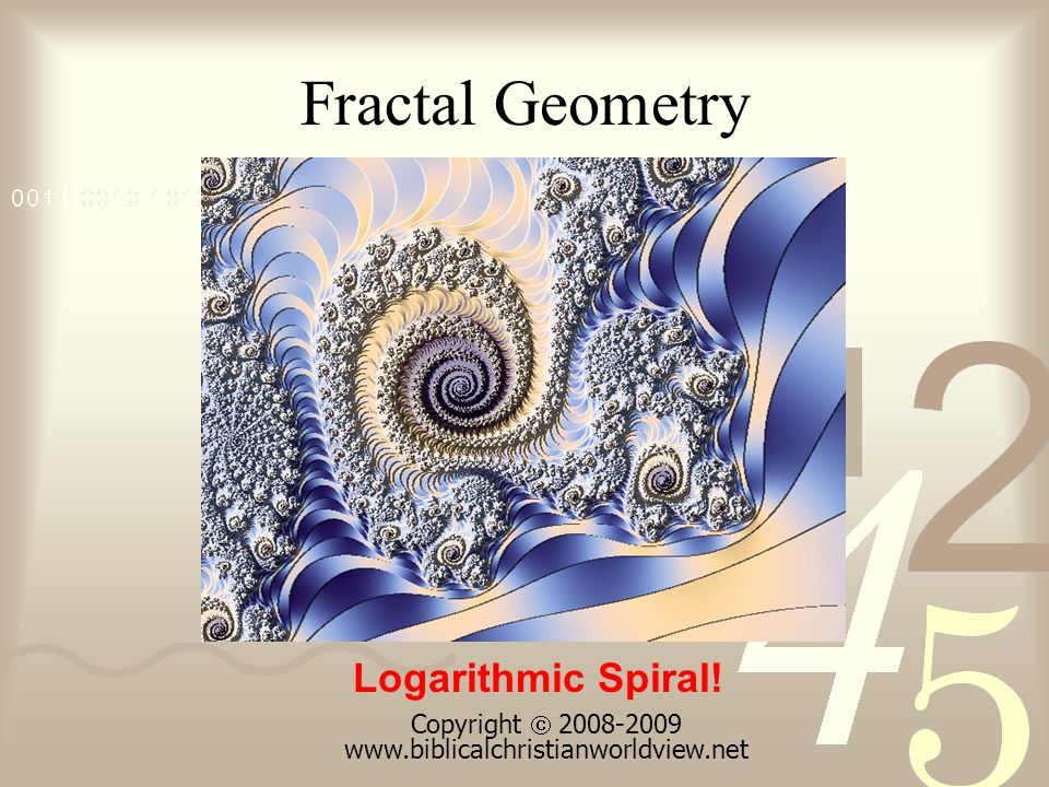 Fractal Geometry Logarithmic Spiral! Copyright 2008-2009 www.biblicalchristianworldview.net