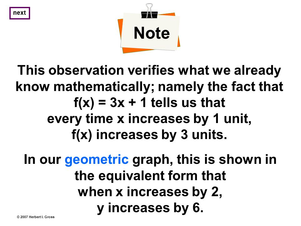 This observation verifies what we already know mathematically; namely the fact that f(x) = 3x + 1 tells us that every time x increases by 1 unit, f(x) increases by 3 units.