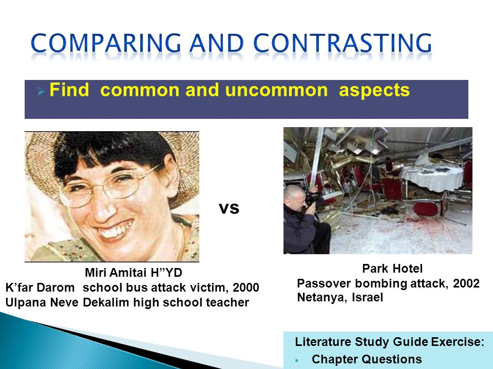 Find common and uncommon aspects Literature Study Guide Exercise: Chapter Questions Miri Amitai HYD Kfar Darom school bus attack victim, 2000 Ulpana Neve Dekalim high school teacher Park Hotel Passover bombing attack, 2002 Netanya, Israel vs