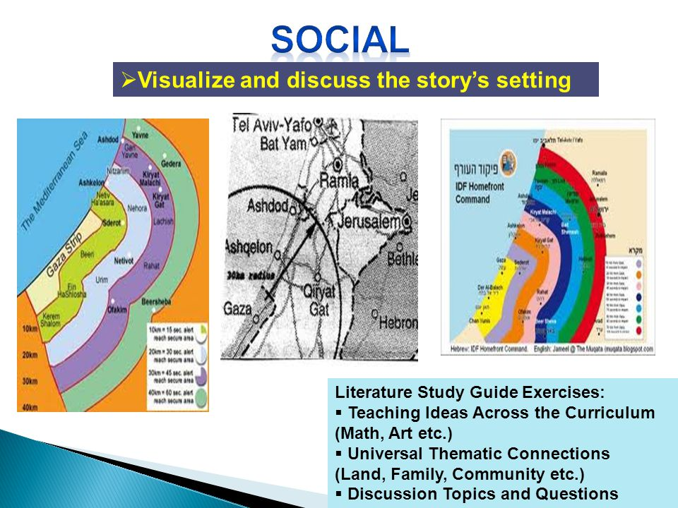 Visualize and discuss the storys setting Literature Study Guide Exercises: Teaching Ideas Across the Curriculum (Math, Art etc.) Universal Thematic Connections (Land, Family, Community etc.) Discussion Topics and Questions