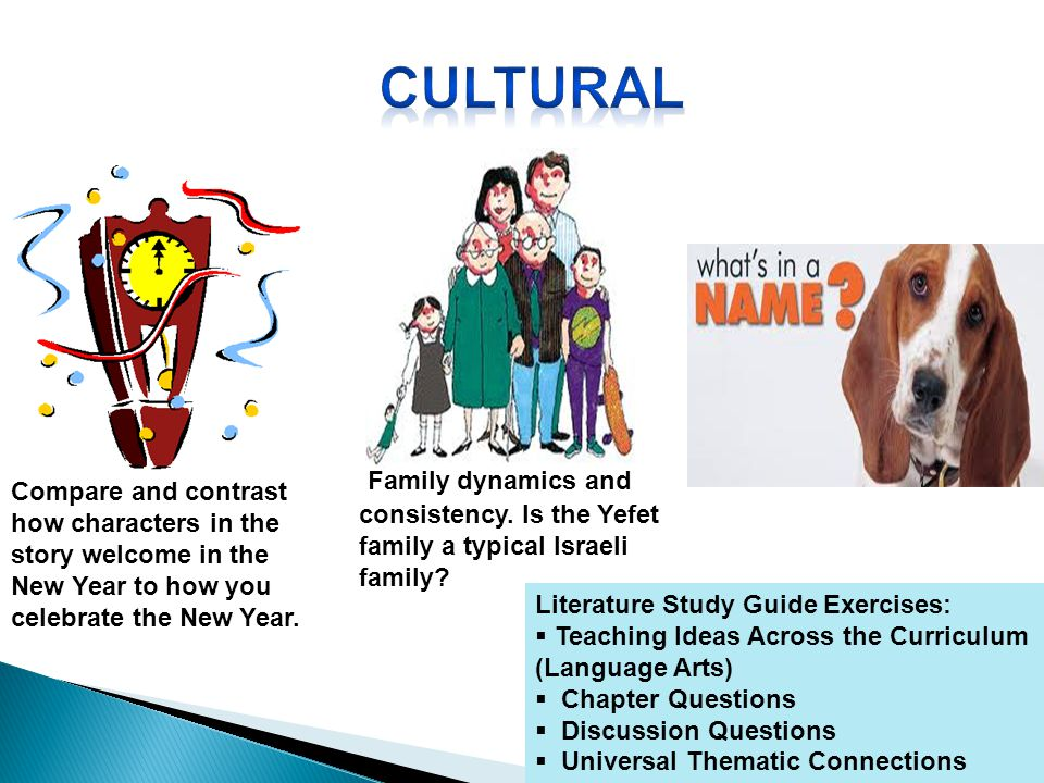 Literature Study Guide Exercises: Teaching Ideas Across the Curriculum (Language Arts) Chapter Questions Discussion Questions Universal Thematic Connections Compare and contrast how characters in the story welcome in the New Year to how you celebrate the New Year.