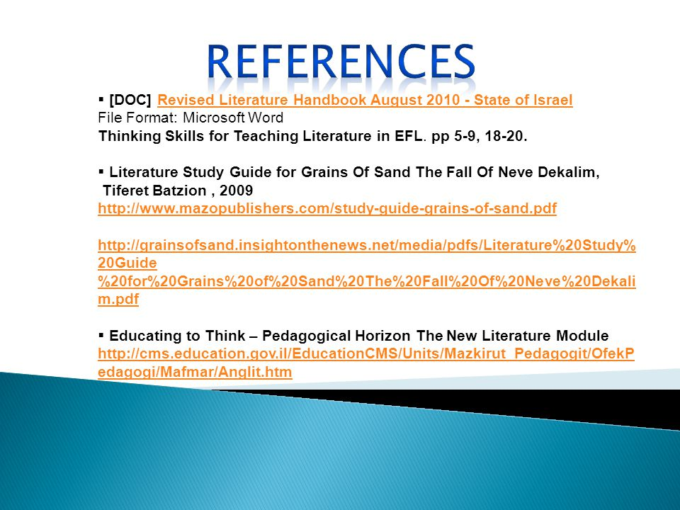 [DOC] Revised Literature Handbook August 2010 - State of IsraelRevised Literature Handbook August 2010 - State of Israel File Format: Microsoft Word Thinking Skills for Teaching Literature in EFL.