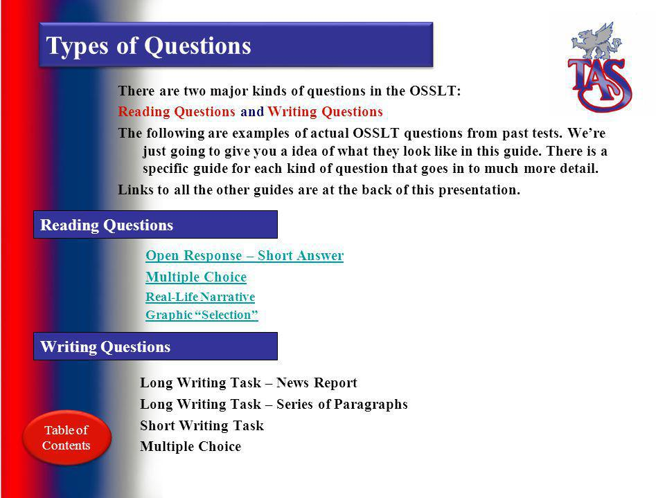 Overview The OSSLT is divided into two main types of questions: Reading and Writing Writing Questions Writing questions fall into one of three differe