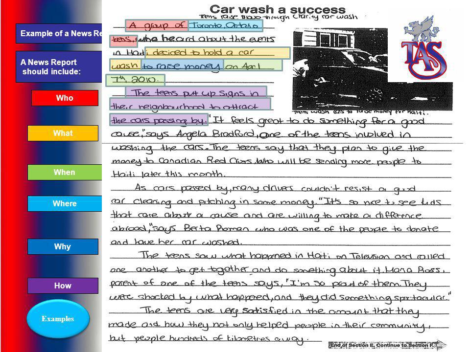 This is an example of a News Report task or question. In a News Report you are given the headline and a photo and you have to use them to create a sto
