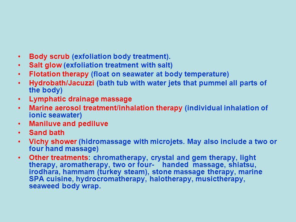 Body scrub (exfoliation body treatment).
