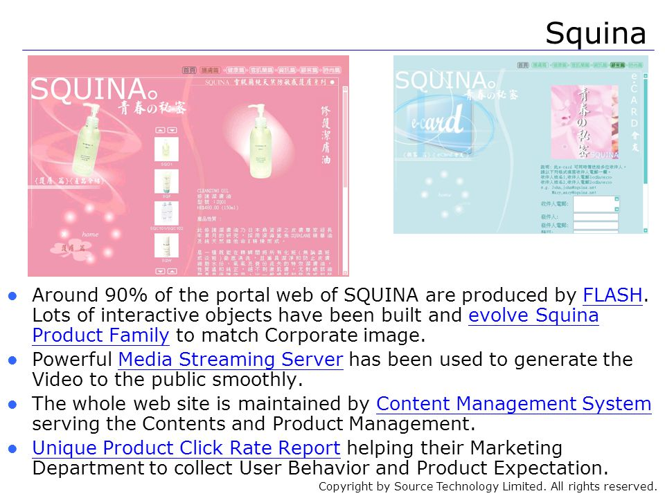 Copyright by Source Technology Limited. All rights reserved. Around 90% of the portal web of SQUINA are produced by FLASH. Lots of interactive objects