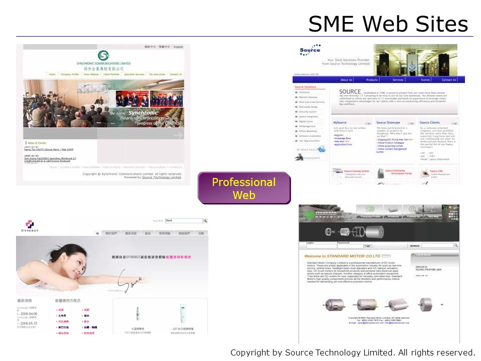 Copyright by Source Technology Limited. All rights reserved. SME Web Sites Professional Web