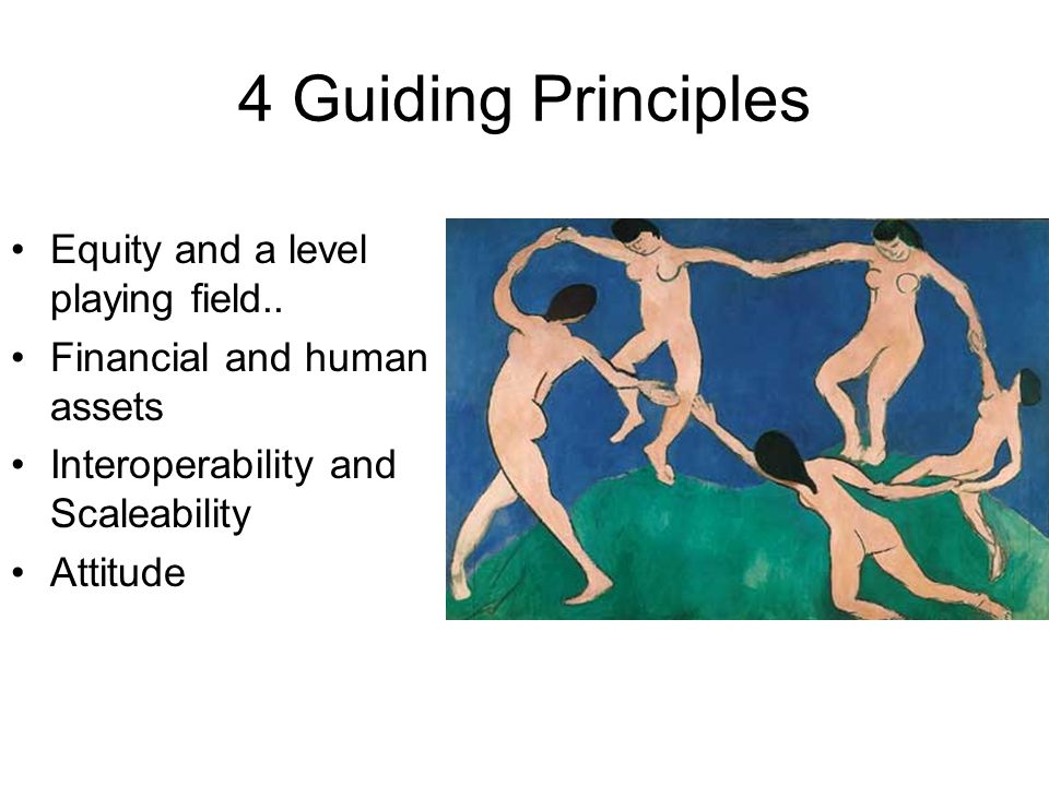 4 Guiding Principles Equity and a level playing field.. Financial and human assets Interoperability and Scaleability Attitude