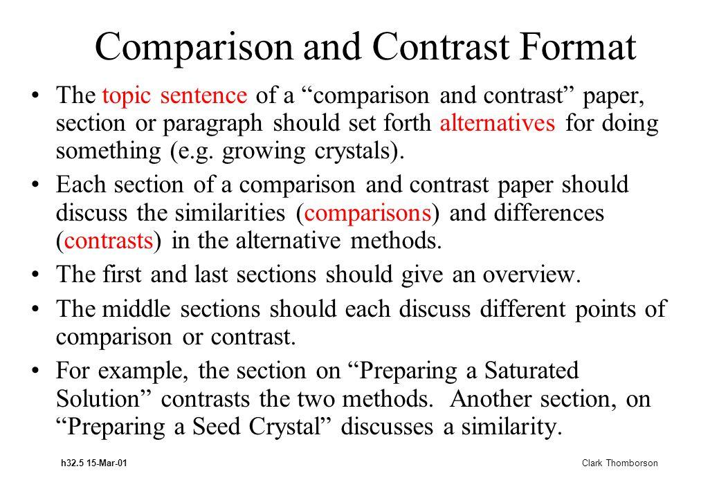 h32.5 15-Mar-01 Clark Thomborson Comparison and Contrast Format The topic sentence of a comparison and contrast paper, section or paragraph should set