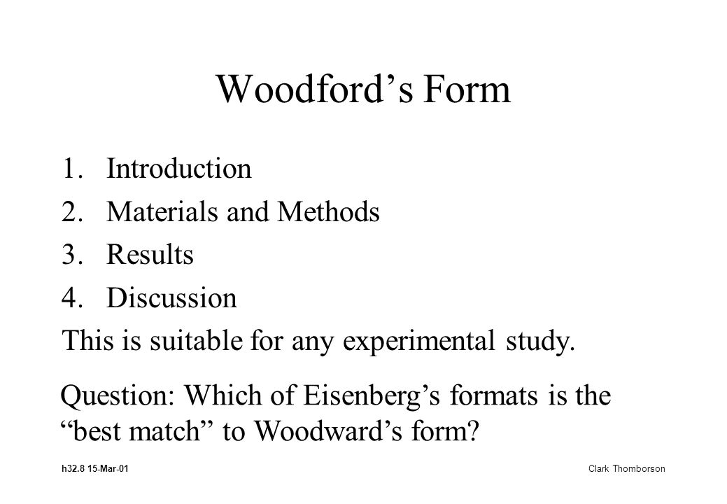 h32.8 15-Mar-01 Clark Thomborson Woodfords Form 1.Introduction 2.Materials and Methods 3.Results 4.Discussion This is suitable for any experimental study.