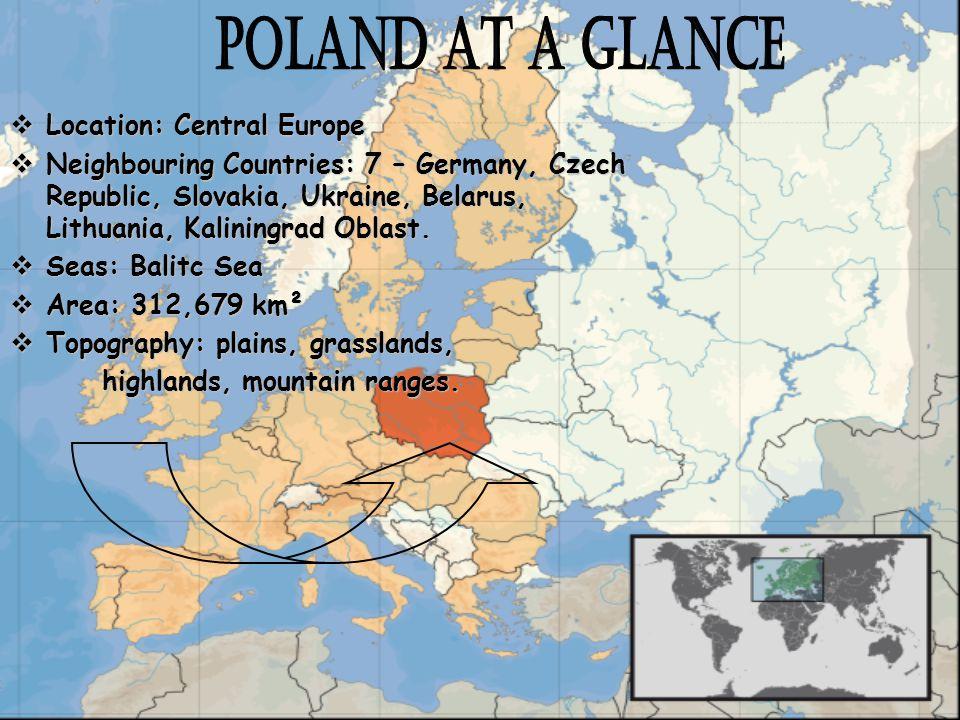 Location: Central Europe Location: Central Europe Neighbouring Countries: 7 – Germany, Czech Republic, Slovakia, Ukraine, Belarus, Lithuania, Kaliningrad Oblast.
