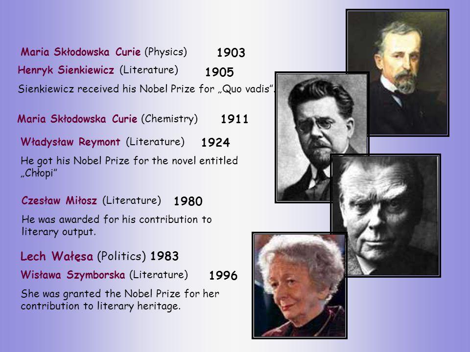 Maria Skłodowska Curie (Physics) Henryk Sienkiewicz (Literature) Sienkiewicz received his Nobel Prize for Quo vadis.