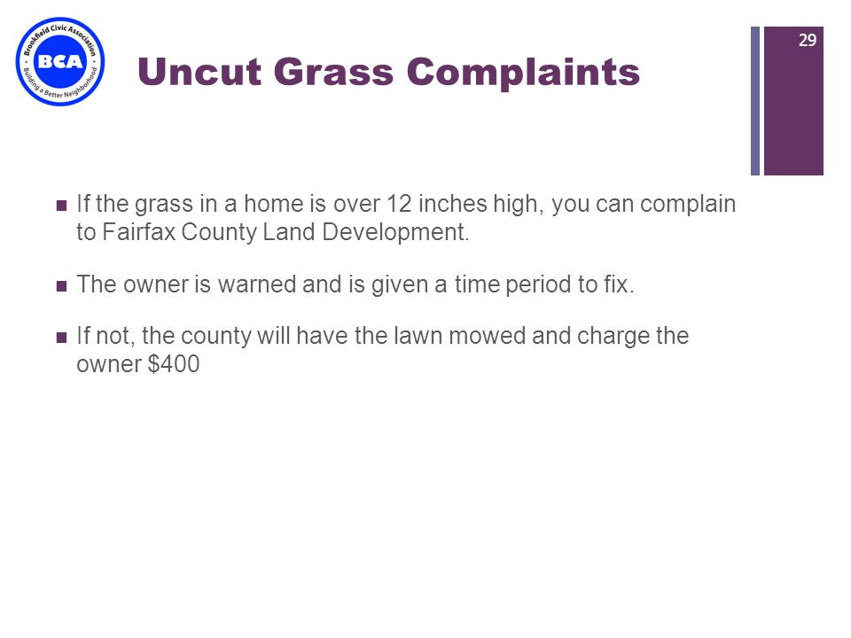 + Uncut Grass Complaints If the grass in a home is over 12 inches high, you can complain to Fairfax County Land Development.