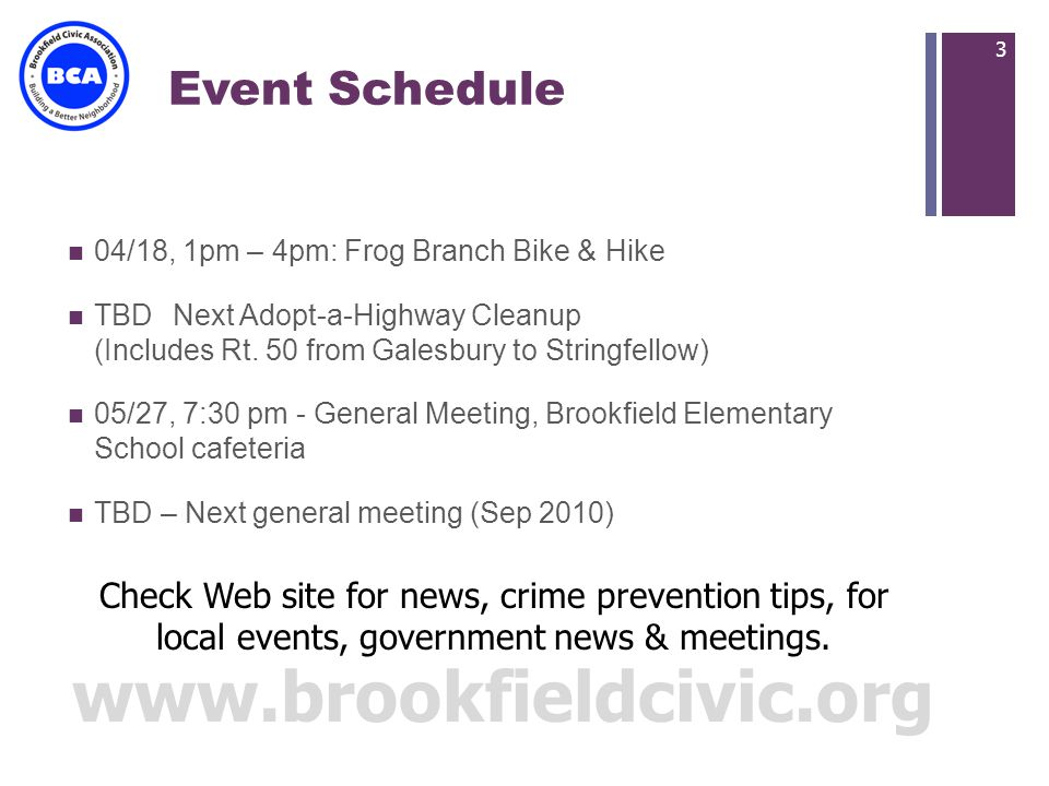 + Event Schedule 04/18, 1pm – 4pm: Frog Branch Bike & Hike TBDNext Adopt-a-Highway Cleanup (Includes Rt.