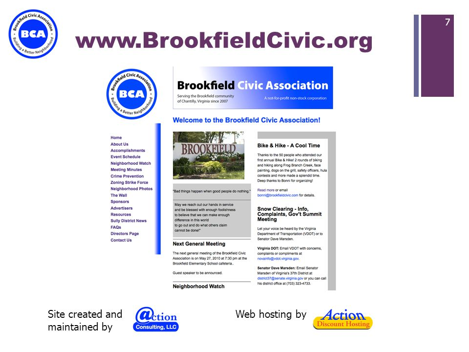+ www.BrookfieldCivic.org 7 Web hosting bySite created and maintained by