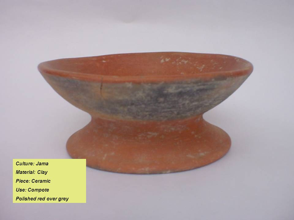 Culture: Jama Material: Clay Piece: Ceramic Use: Compote Polished red over grey