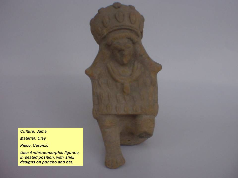 Culture: Jama Material: Clay Piece: Ceramic Use: Anthropomorphic figurine, in seated position, with shell designs on poncho and hat.