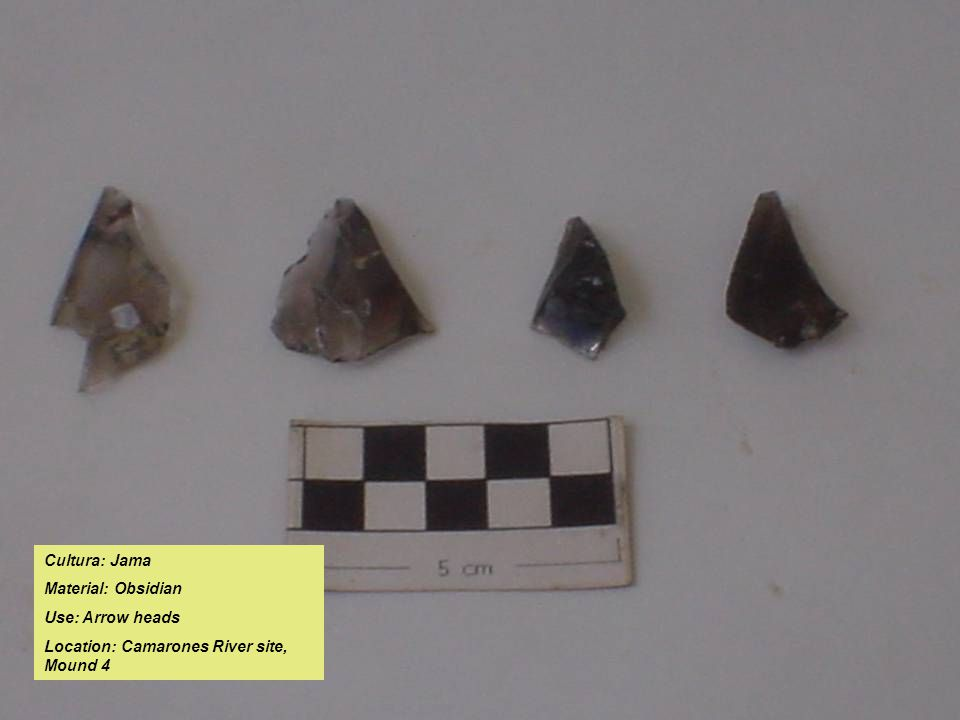 Cultura: Jama Material: Obsidian Use: Arrow heads Location: Camarones River site, Mound 4