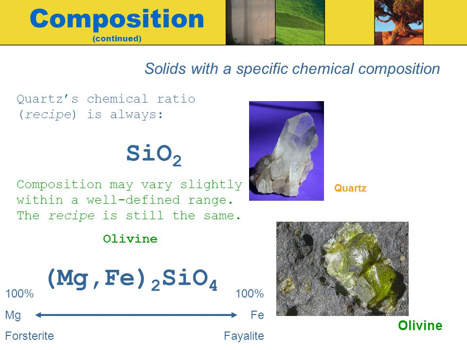Quartzs chemical ratio (recipe) is always: SiO 2 Composition may vary slightly within a well-defined range.