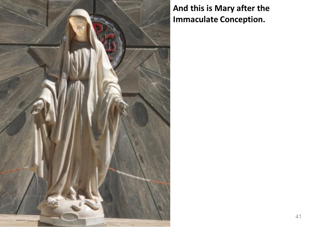 And this is Mary after the Immaculate Conception. 41