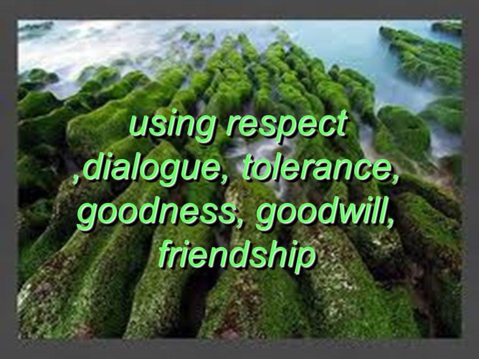 using respect,dialogue, tolerance, goodness, goodwill, friendship