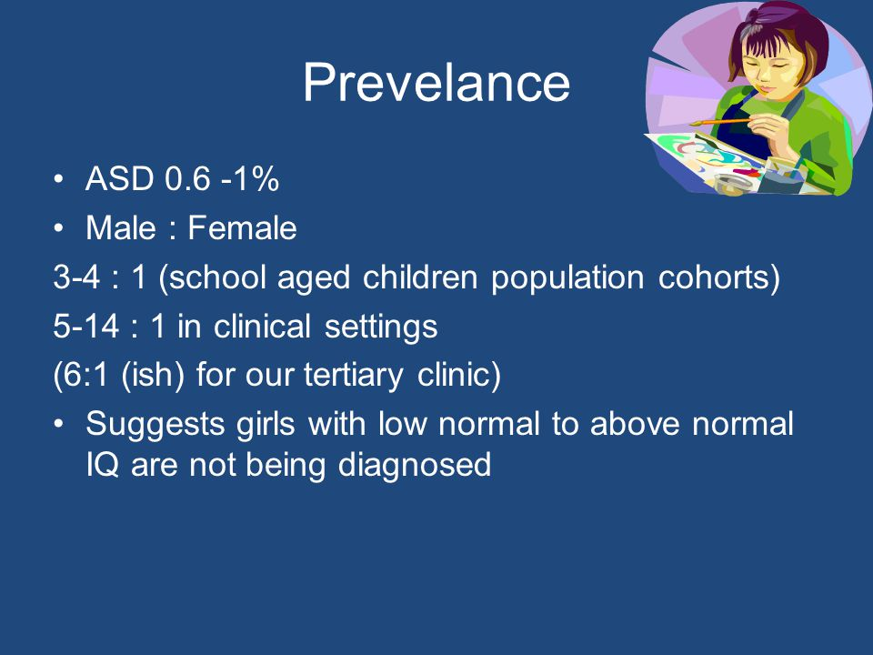 Prevelance ASD 0.6 -1% Male : Female 3-4 : 1 (school aged children population cohorts) 5-14 : 1 in clinical settings (6:1 (ish) for our tertiary clinic) Suggests girls with low normal to above normal IQ are not being diagnosed