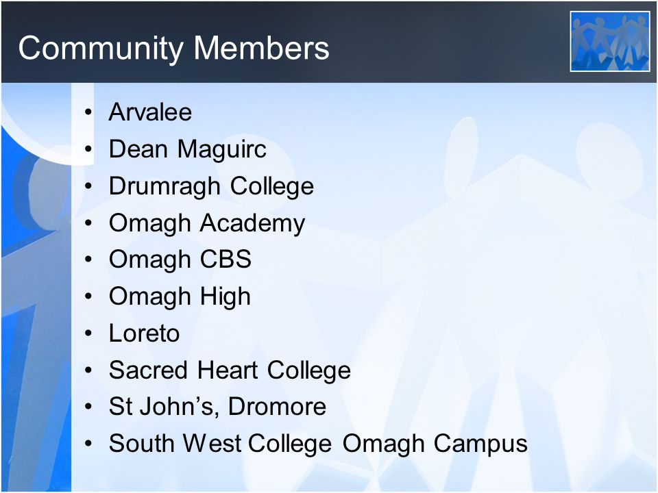 Community Members Arvalee Dean Maguirc Drumragh College Omagh Academy Omagh CBS Omagh High Loreto Sacred Heart College St Johns, Dromore South West College Omagh Campus