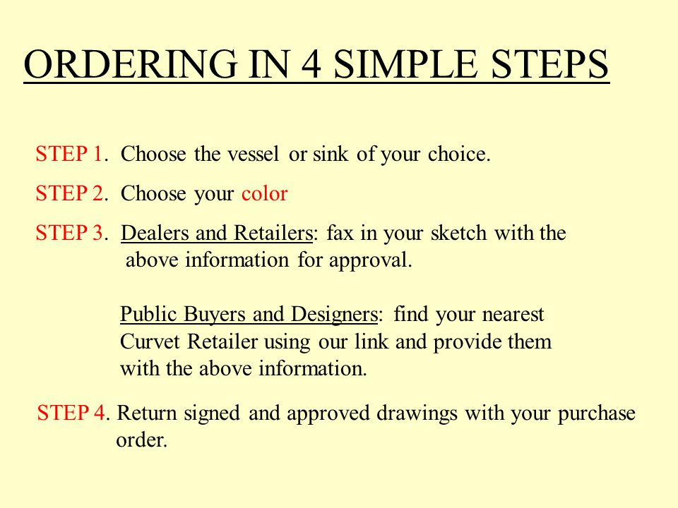 ORDERING IN 4 SIMPLE STEPS STEP 1.Choose the vessel or sink of your choice.