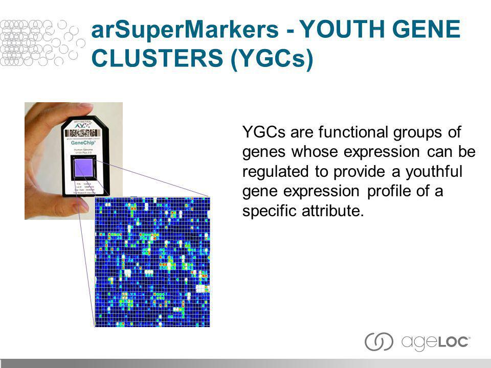 YGCs are functional groups of genes whose expression can be regulated to provide a youthful gene expression profile of a specific attribute. arSuperMa