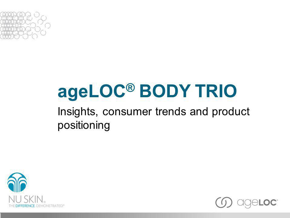 ageLOC ® Body Trio delivers a slimmer, smoother, firmer, youthful looking you by restoring a contoured look and targeting the look of fat, cellulite and smoothing skin.