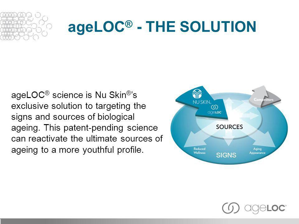 ageLOC ® science is Nu Skin ® s exclusive solution to targeting the signs and sources of biological ageing. This patent-pending science can reactivate