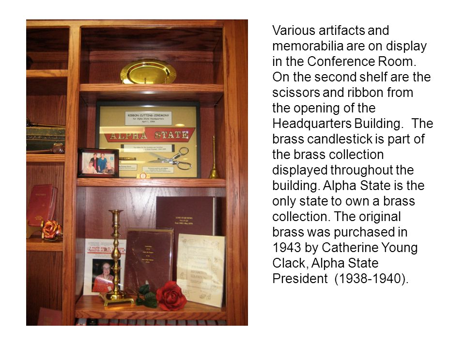 Various artifacts and memorabilia are on display in the Conference Room.