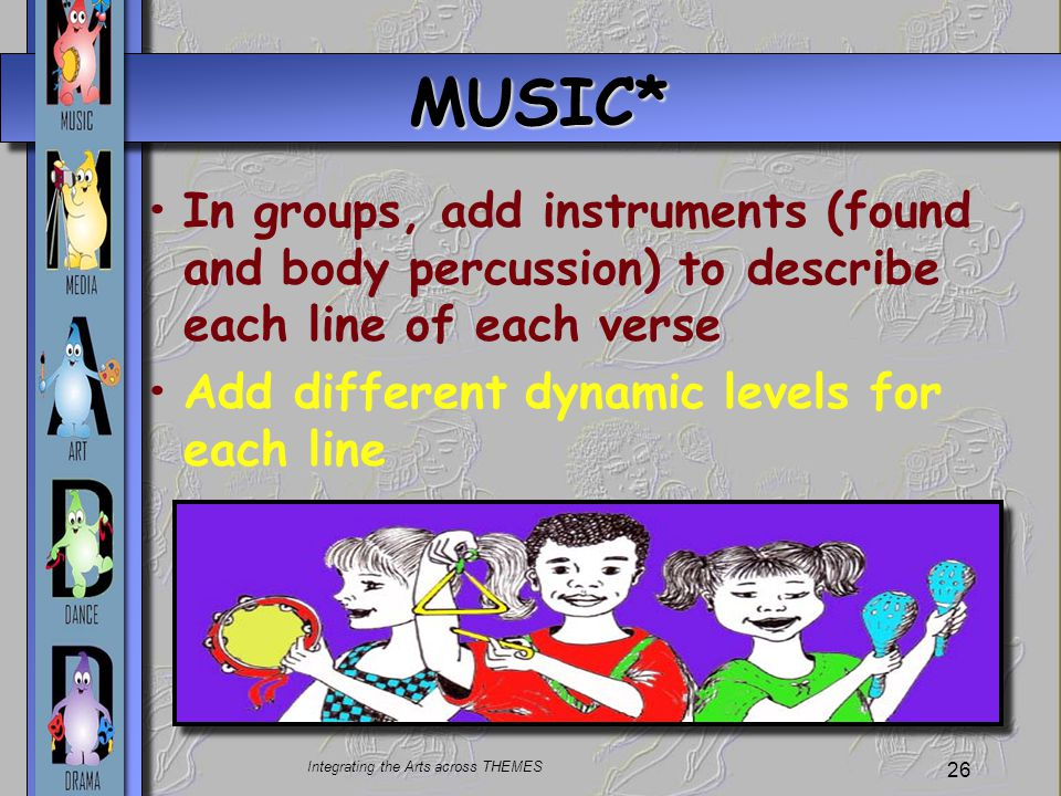 Integrating the Arts across THEMES 26 MUSIC* In groups, add instruments (found and body percussion) to describe each line of each verse Add different dynamic levels for each line