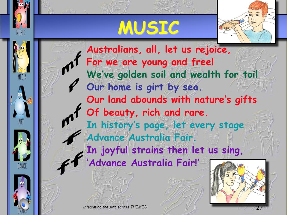 Integrating the Arts across THEMES 27 MUSIC Australians, all, let us rejoice, For we are young and free.