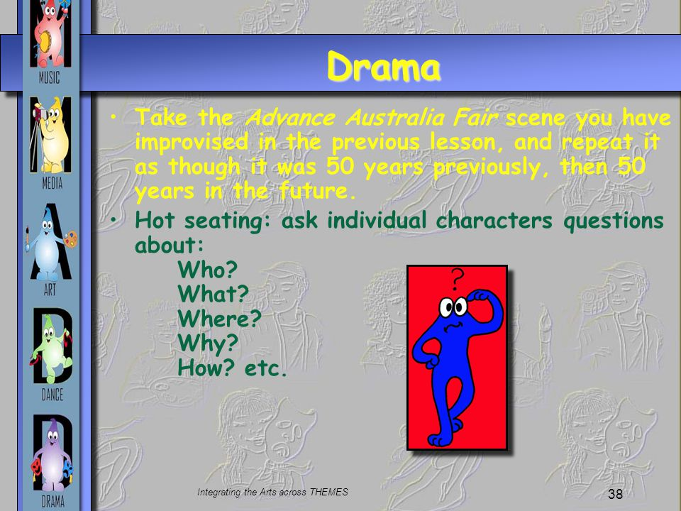 Integrating the Arts across THEMES 38 Drama Take the Advance Australia Fair scene you have improvised in the previous lesson, and repeat it as though it was 50 years previously, then 50 years in the future.