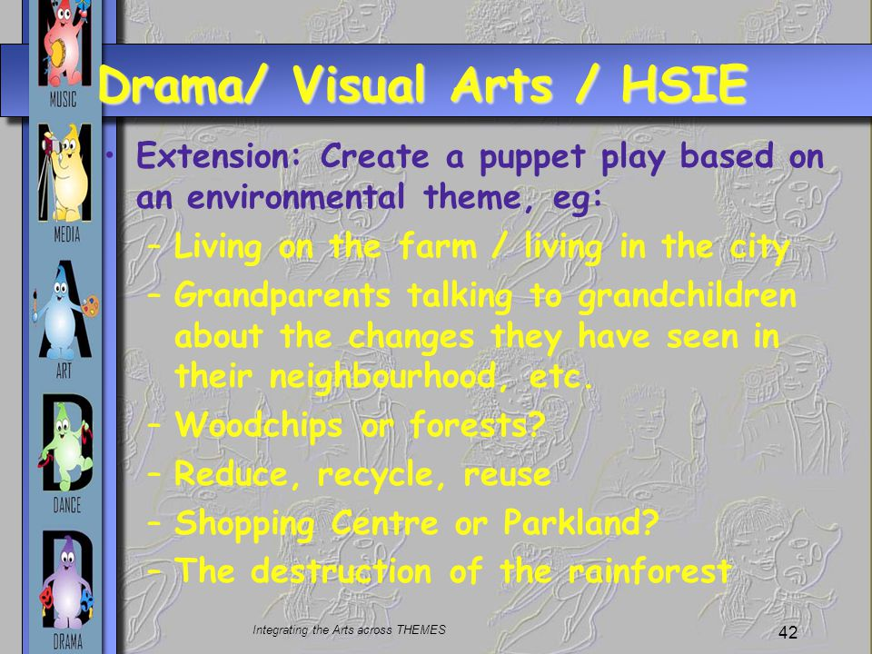 Integrating the Arts across THEMES 42 Drama/ Visual Arts / HSIE Extension: Create a puppet play based on an environmental theme, eg: –Living on the farm / living in the city –Grandparents talking to grandchildren about the changes they have seen in their neighbourhood, etc.
